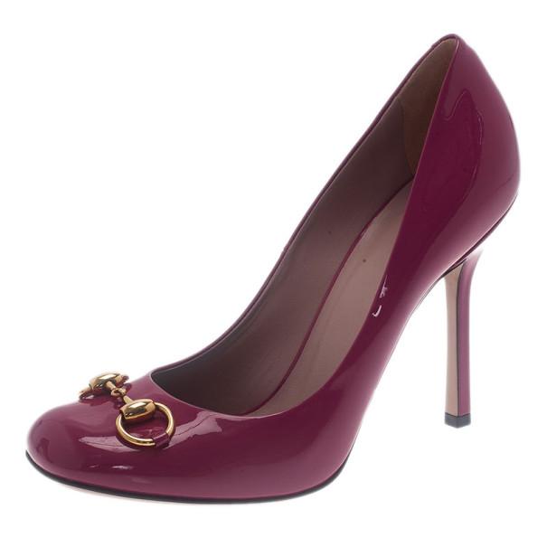 Gucci Pink Patent Leather 'Vernice' Horsebit Pumps Size 39