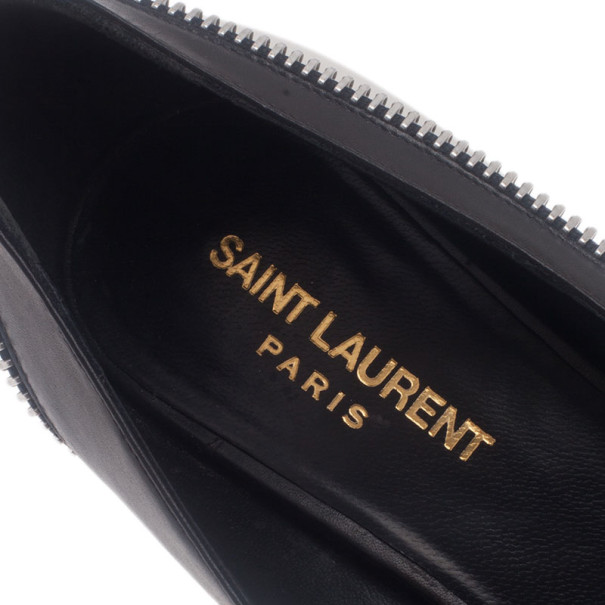 Saint Laurent Paris Two Tone Optical Zipper Detail Pumps Size 38.5