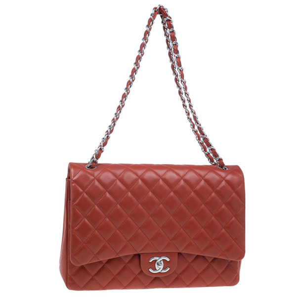 Chanel Red Lambskin Maxi Flap Bag