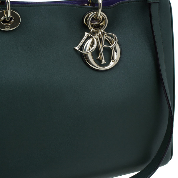 Dior Green Leather Large Diorissimo Shopper Tote