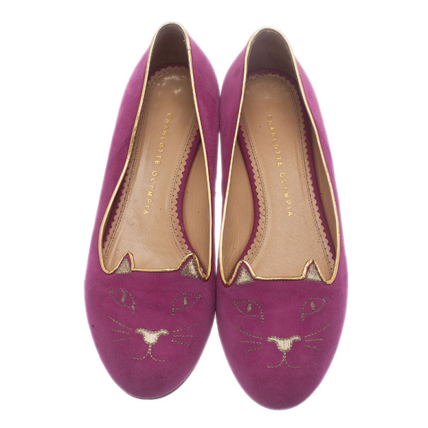 Charlotte Olympia Pink Kitty Suede Embroidered Flats Size 39.5