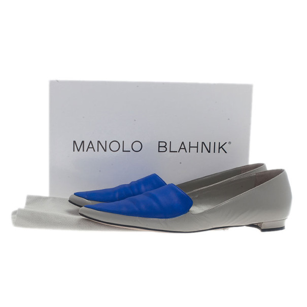 Manolo Blahnik Two Tone Leather Tintoretta Flats Size 39.5