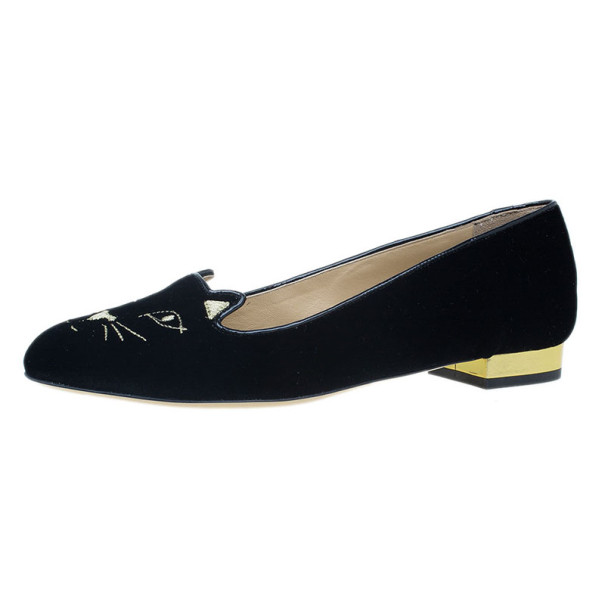 Charlotte Olympia Black Kitty Embroidered Velvet Flats Size 39