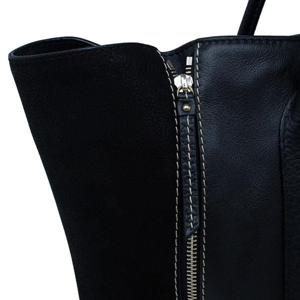 Carolina Herrera Black Leather Zip Tote