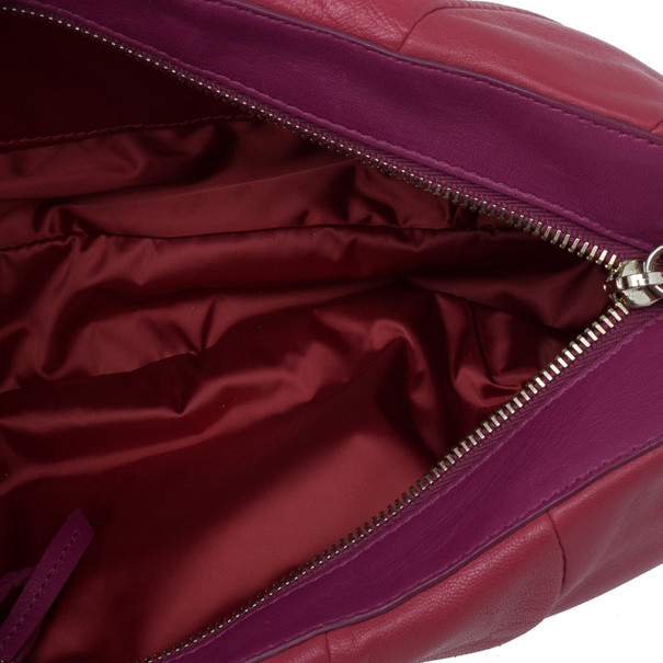 Celine Two Tone Red Pleated Clutch