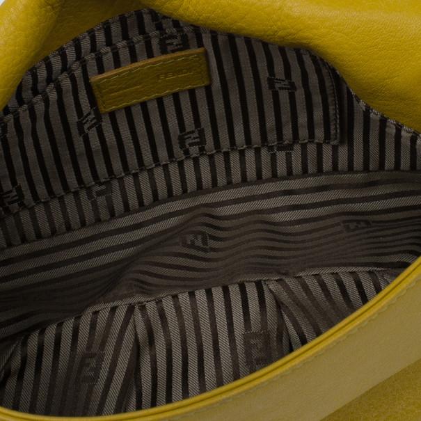 Fendi Yellow Leather Fendista Pochette Crossbody