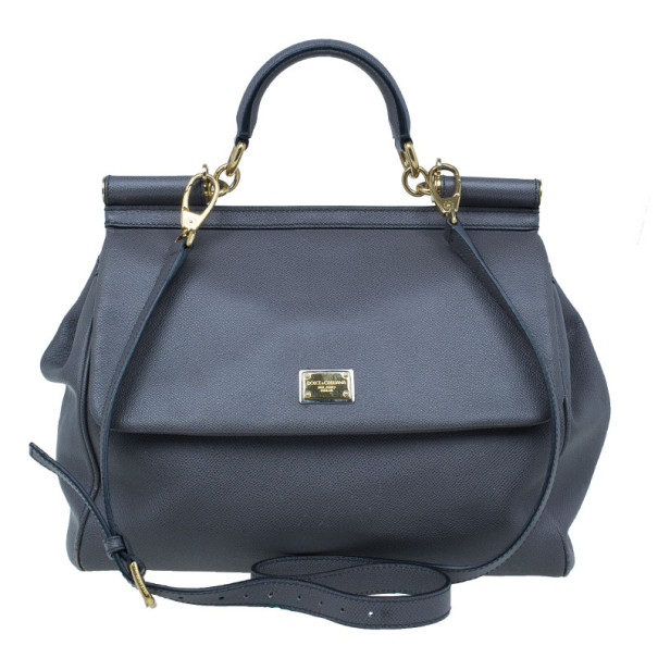 Dolce and Gabbana Grey Leather Large Miss Sicily Tote