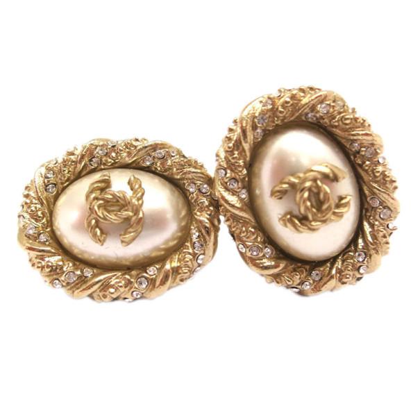 Chanel Faux Pearl Crystal Clip On Earrings