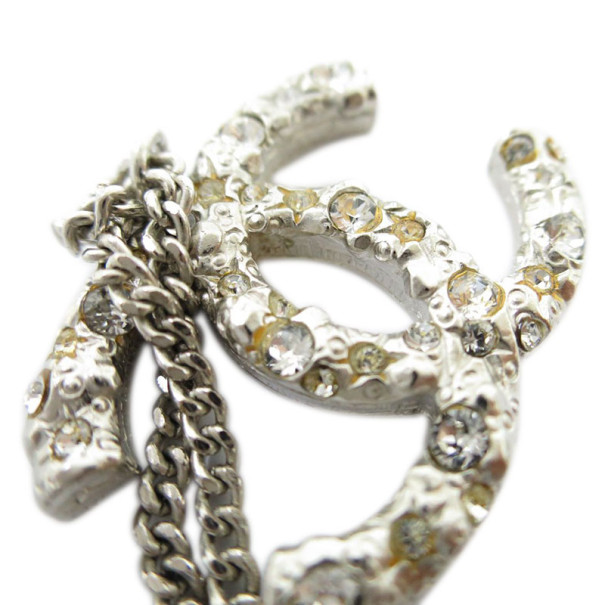 Chanel CC Crystal Logo Large Pendant Necklace