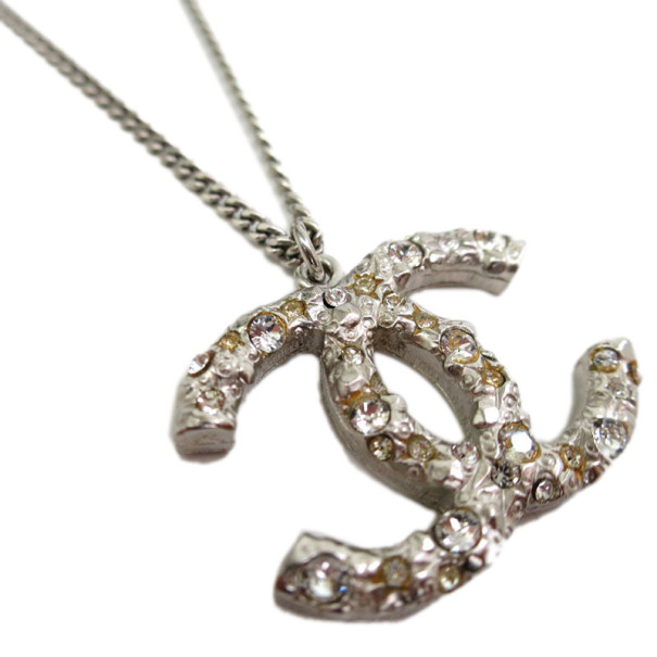 Chanel CC Crystal Logo Large Pendant Necklace