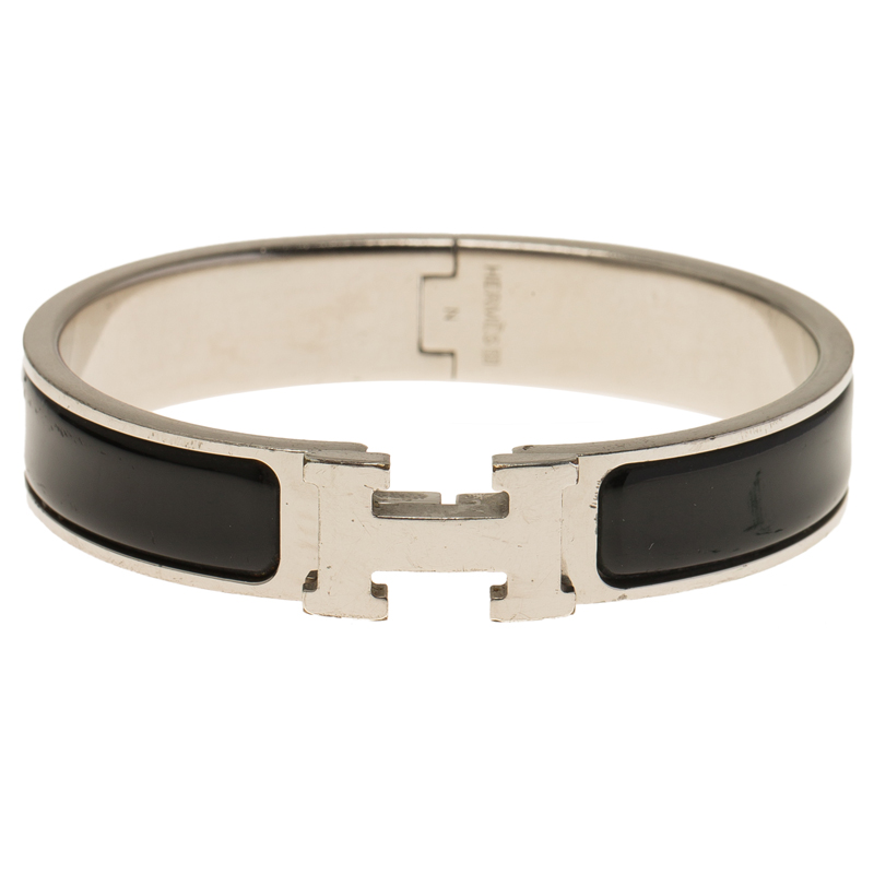hermes clic clac h black enamel palladium plated bracelet. Black Bedroom Furniture Sets. Home Design Ideas