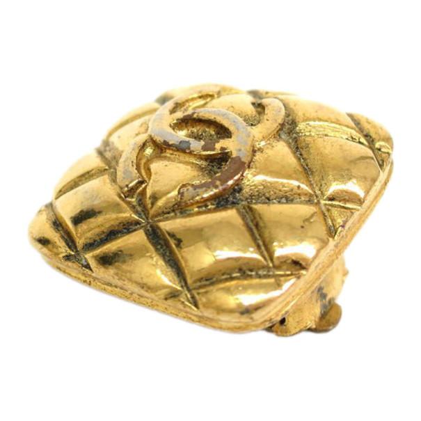 Chanel Vintage Matelasse Gold Tone Clip On Earrings