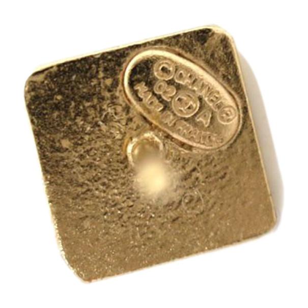 Chanel Square Turnlock CC Logo Pierced Earrings