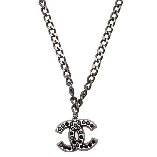 Chanel CC Black Crystal Large Pendant Necklace