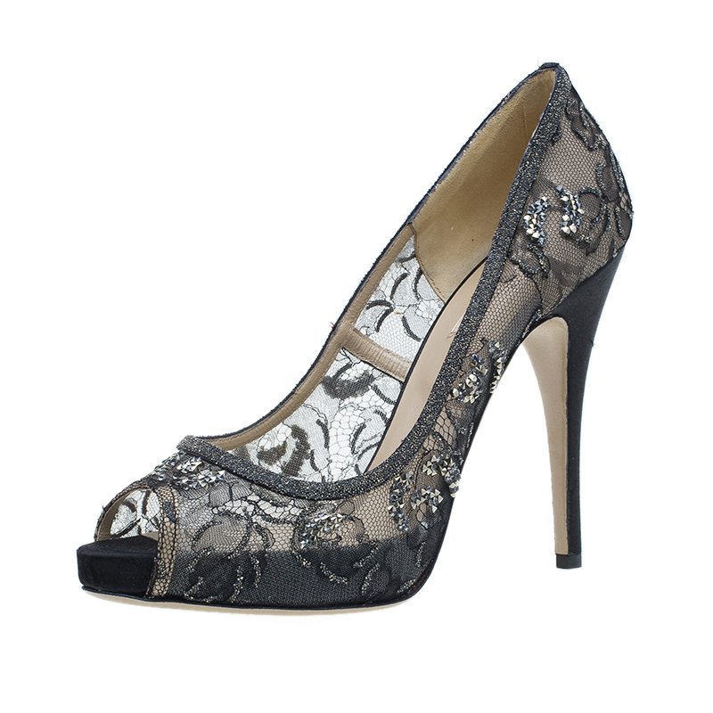 Valentino Black Embellished Lace and Mesh Floral Peep Toe Pumps 41