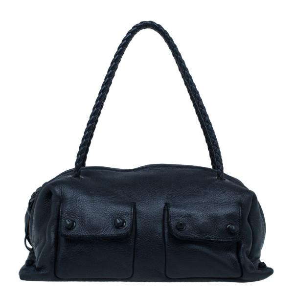 Bottega Veneta  Black Intrecciato Leather Boston