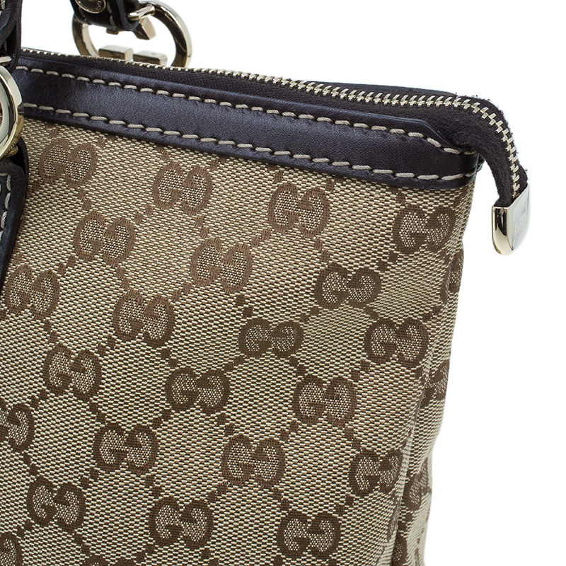 Gucci Beige Monogram Canvas Small lovely heart interlocking G tote