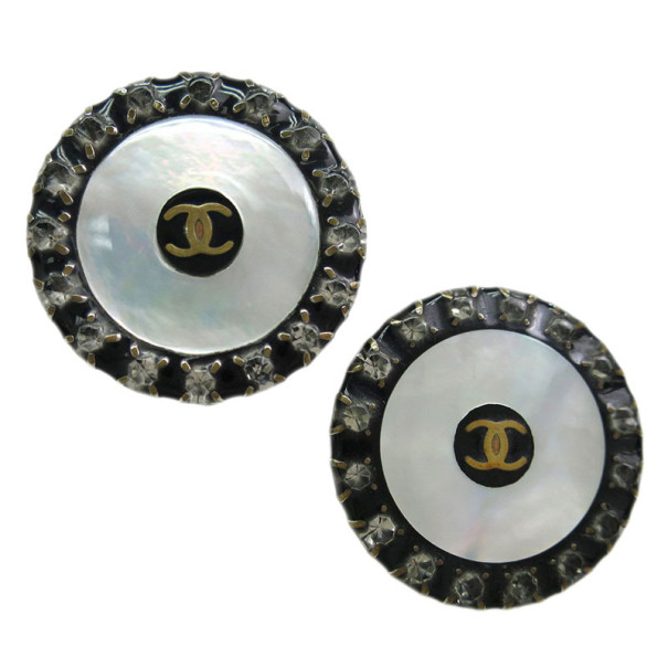 Chanel CC Mother of Pearl Effect Botton Clip On Earrings