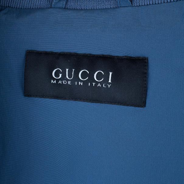 Gucci Navy Diamante Nylon Bomber Jacket S