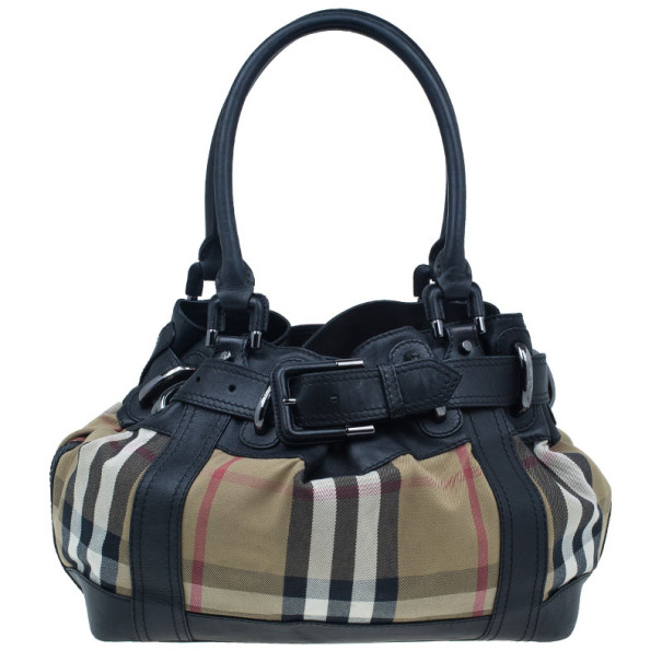 Burberry Black Leather Bridle House Check Hobo