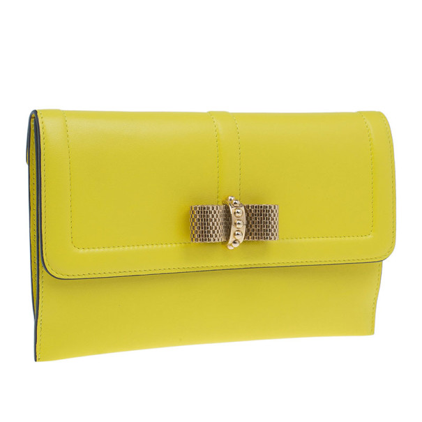 Christian Louboutin Yellow Leather Sweet Charity Wallet