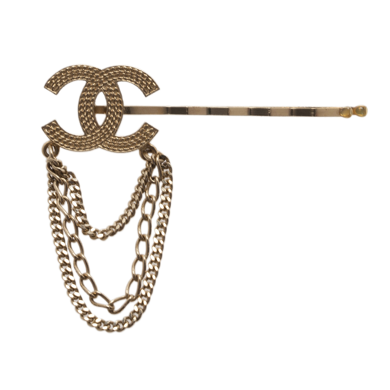 Chanel CC Chains Gold Tone Hair Pin