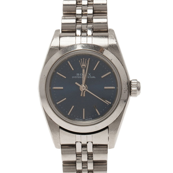 Rolex Blue Stainless Steel Oyster Perpetual Women's Wristwatch 25MM