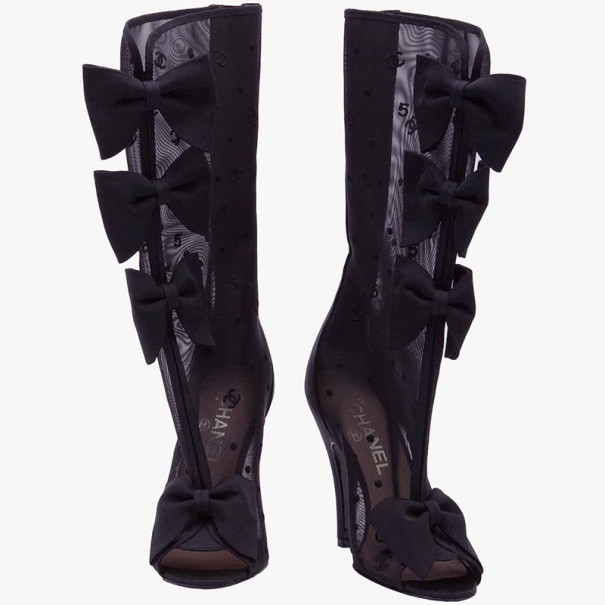 Chanel Black Mesh Bow Mid Calf Boots Size 36
