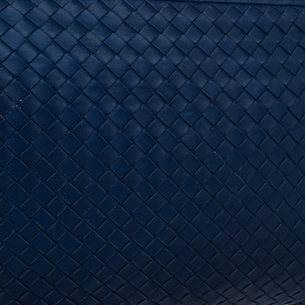 Bottega Veneta Blue Intrecciato Leather Crossbody
