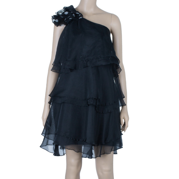 Notte By Marchesa Organza Ruffle One-shoulder Dress M