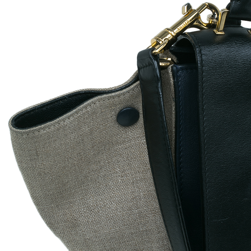 Celine Tri Color Leather and Canvas Small Trapeze Shoulder Bag
