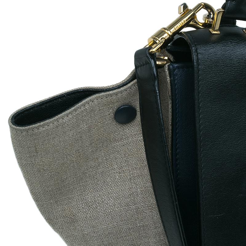Celine Tri Color Leather and Canvas Small Trapeze Shoulder Bag