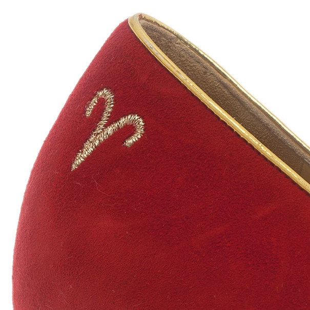 Charlotte Olympia Red Suede Aries Smoking Slippers Size 37