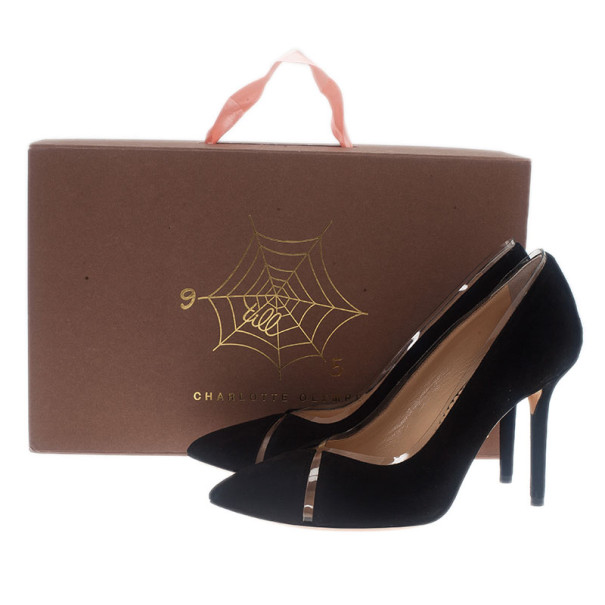 Charlotte Olympia Black Suede PVC Trimmed Natalie Pumps Size 37