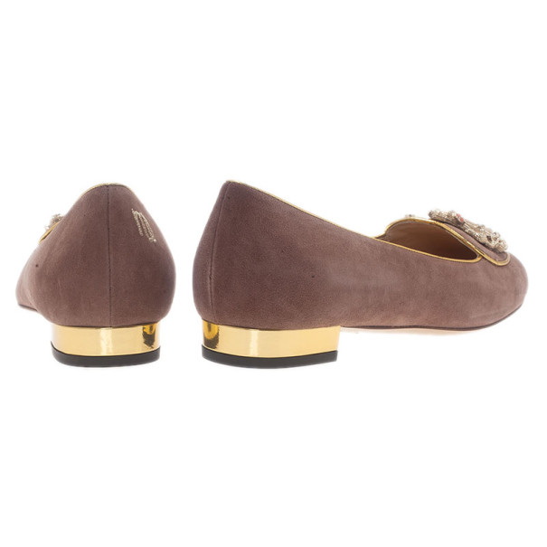 Charlotte Olympia Lilac Suede Virgo Smoking Slippers Size 40