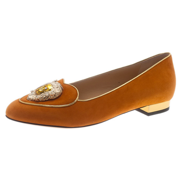 Charlotte Olympia Orange Suede Leo Smoking Slippers Size 39
