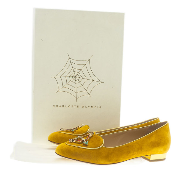 Charlotte Olympia Mustard Yellow Suede Sagittarius Smoking Slippers Size 39.5