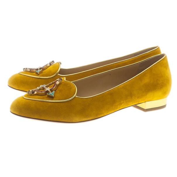Charlotte Olympia Mustard Yellow Suede Sagittarius Smoking Slippers Size 39.5