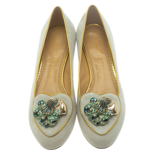 Charlotte Olympia Grey Suede Aquarius Smoking Slippers Size 37.5