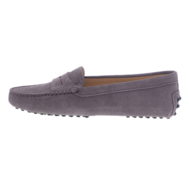 Tod's Lilac Suede Penny Loafers Size 37