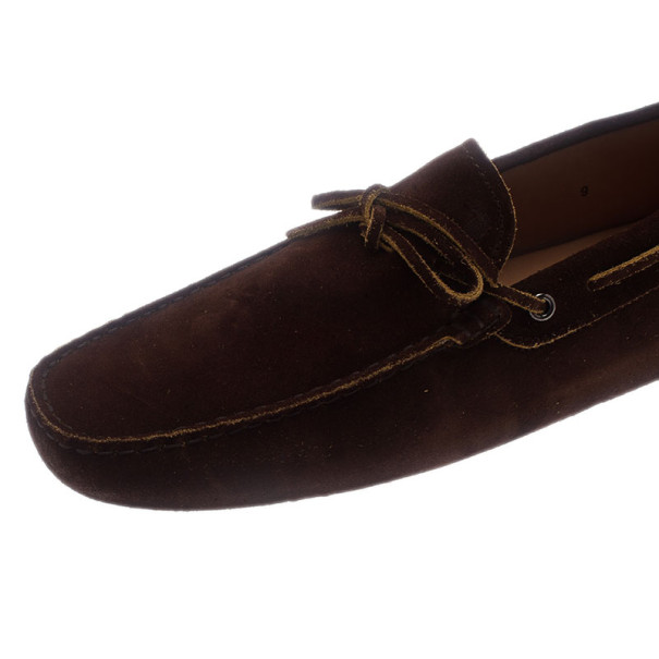 Tod's Brown Suede Bow Loafers Size 43