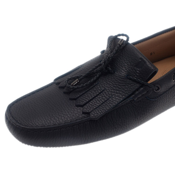 Tod's Navy Leather Bow Fringe Loafers Size 43.5