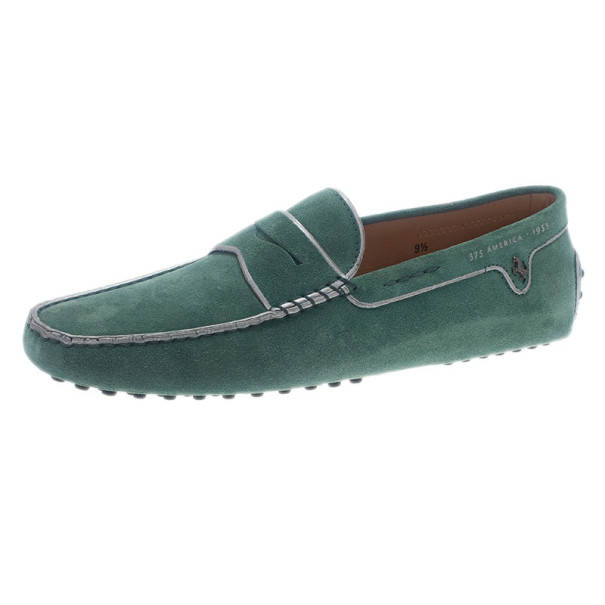 Tod's for Ferrari Limited Edition Green Suede Loafers Size 43.5