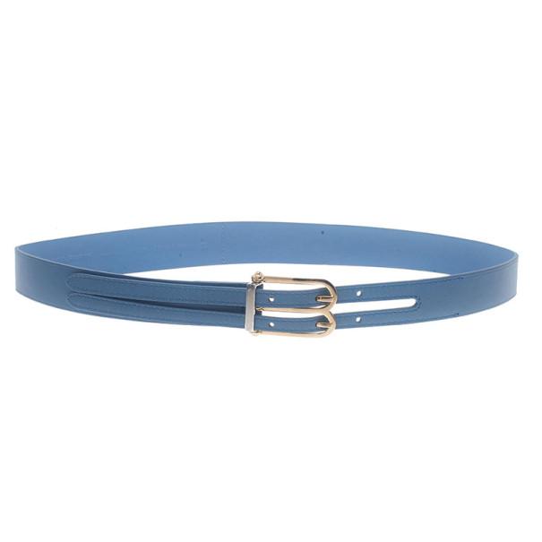 Balenciaga Blue Leather B Buckle Belt 75CM
