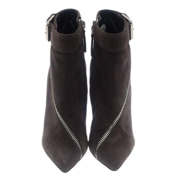 Giuseppe Zanotti Grey Suede Asymmetrical Zip Ankle Boots Size 39
