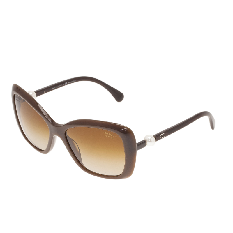 Chanel Brown Pearl Detail Cat Eye Sunglasses