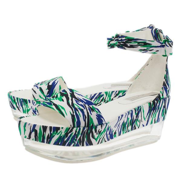 Stella McCartney Printed Valerie Plexi Wedge Sandals Size 41