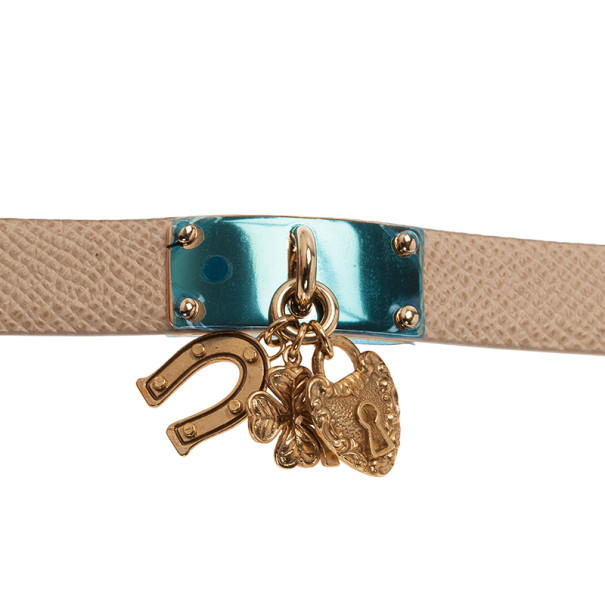 Dolce and Gabbana Good Luck Charms Natural Leather Bracelet M
