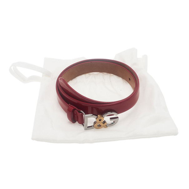 Dolce and Gabbana Red Patent Logo Belt 70CM