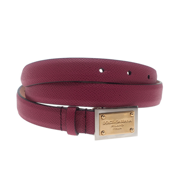 Dolce and Gabbana Pink Leather Logo Plaque Skinny Belt 75CM